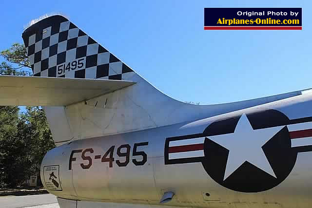 F-84F Thunderstreak S/N 51495, Buzz Number FS-495. tail section