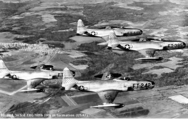 Air Force RF-80 aircraft in formation, Buzz Number FT-242 in front