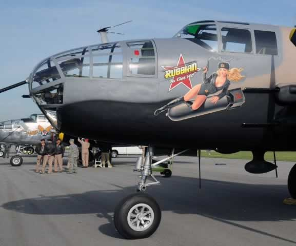 "Nose art on B-25 Mitchell ""Russian to Get Ya"""