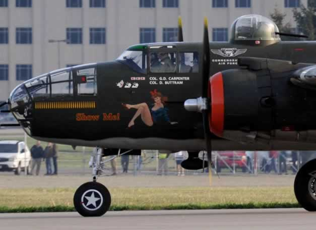 "Nose art on B-25 Mitchell ""Show Me!"""
