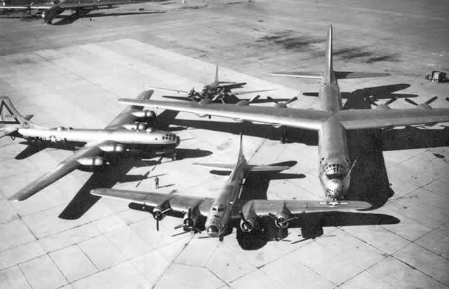 Bombers on display at Carswell AFB: B-17 Flying Fortress, B-29 Superfortress and a B-36 Peacemaker