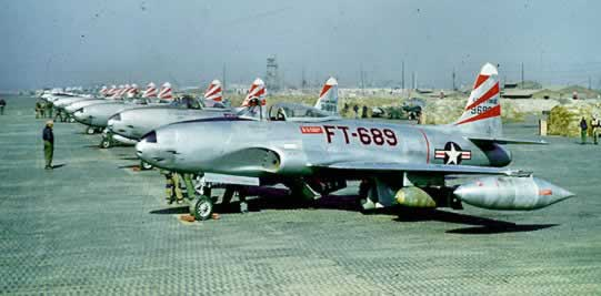 Air Force F-80 jets in Korea, Buzz Number FT-689 in the foreground