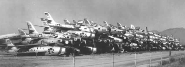 Stacks of Republic F-84F Thunderstreaks at Davis-Monthan AFB awaiting scrapping at AMARC in November, 1958