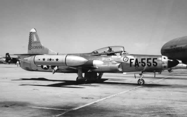 Air Force F-94 S/N 113555, Buzz Number FA-555, on apron
