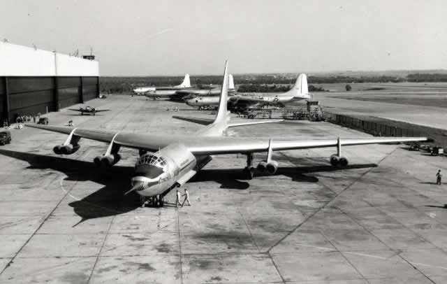 Convair YB-60 at Convair plant with B-36 aircraft in the background