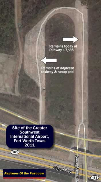 Map of the site of the remaining runway 17-35 at the Greater Southwest International Airport, Amon Carter Field, Fort Worth Texas