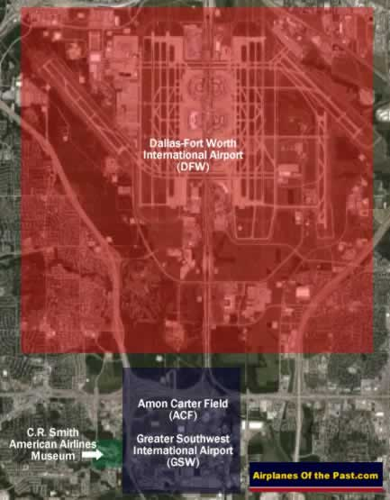 Map of the location of Amon Carter Field, the Greater Southwest International Airport, and DFW Airport
