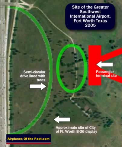 Map of the site of the passenger terminal at the Greater Southwest International Airport, Amon Carter Field, Fort Worth Texas, as seen in 2005