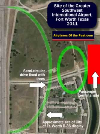 Map of the site of the passenger terminal at the Greater Southwest International Airport, Amon Carter Field, Fort Worth Texas, as seen in 2011