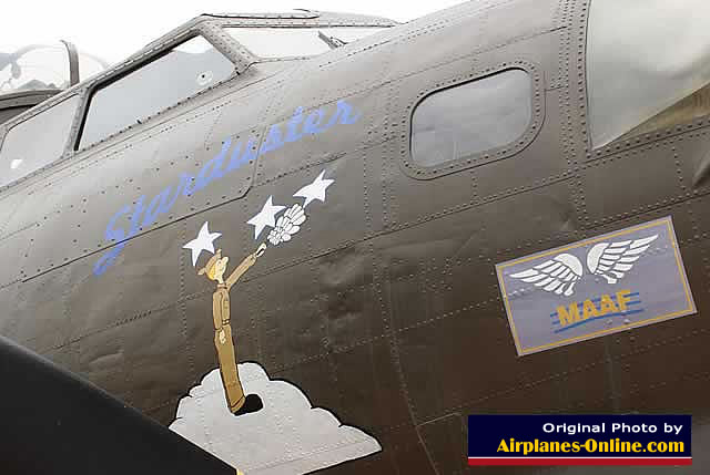 "Nose art on the B-17G Flying Fortress, ""Starduster"", S/N 44-6393, at the March Field Air Museum in California"