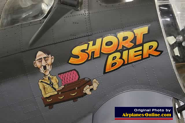 "Military bomber nose art on B-17 ""Short Bier"" in Ogden, Utah"