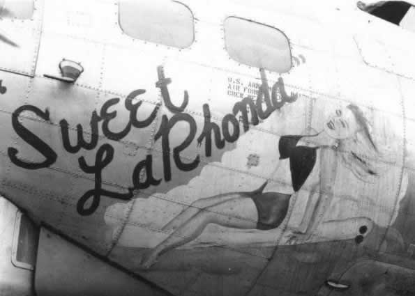 "World War II military aircraft nose art on the B-17 Flying Fortress ""Sweet LaRhonda"""