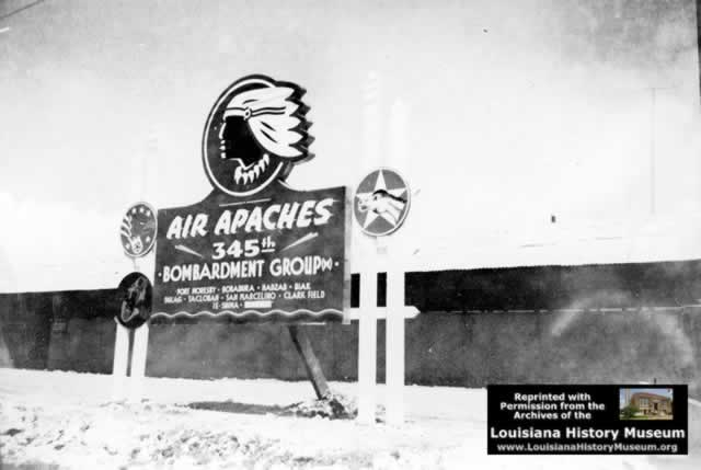 Air Apaches ... 345th Bombardment Group sign in World War II