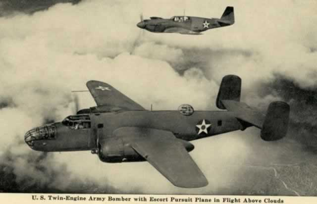 B-25 Mitchell with escort ... historic picture postcard