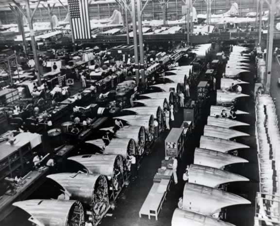 Boeing B-29 Assembly Line (Photo courtesy of the U.S. Air Force)