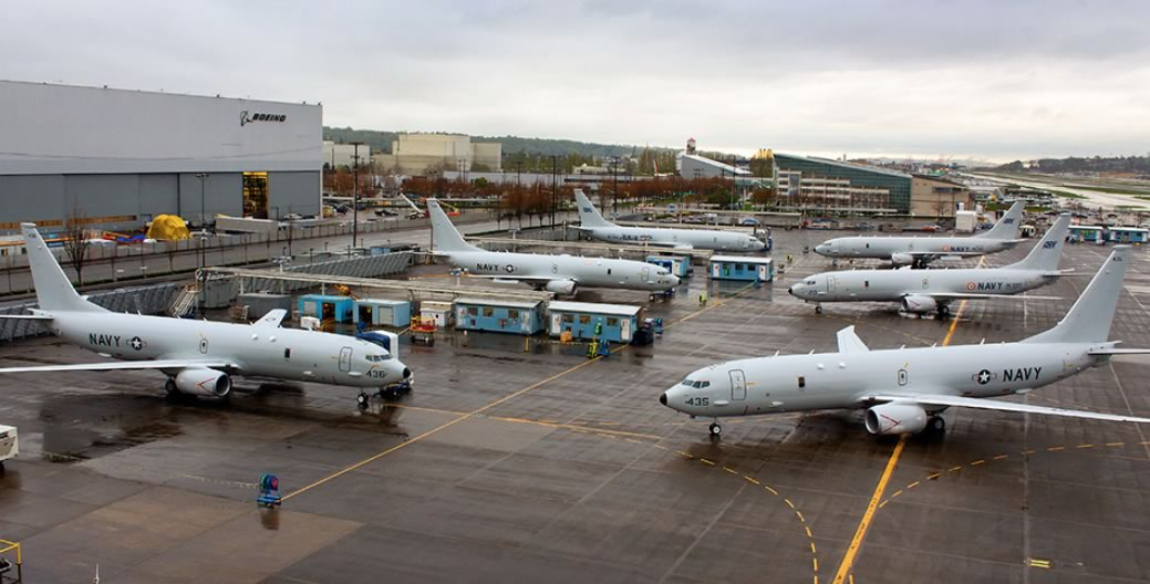 Poseidon P-8s at the Boeing plant