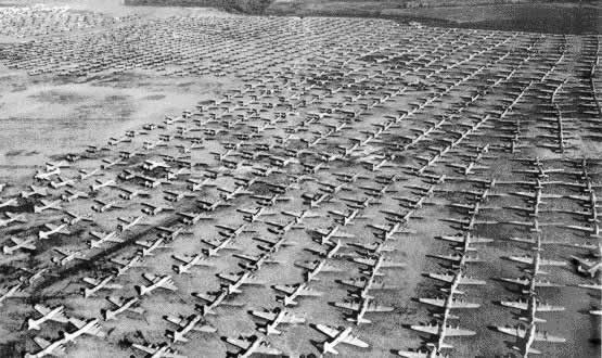 B-17 Flying Fortresses parked and awaiting the furnaces after World War II