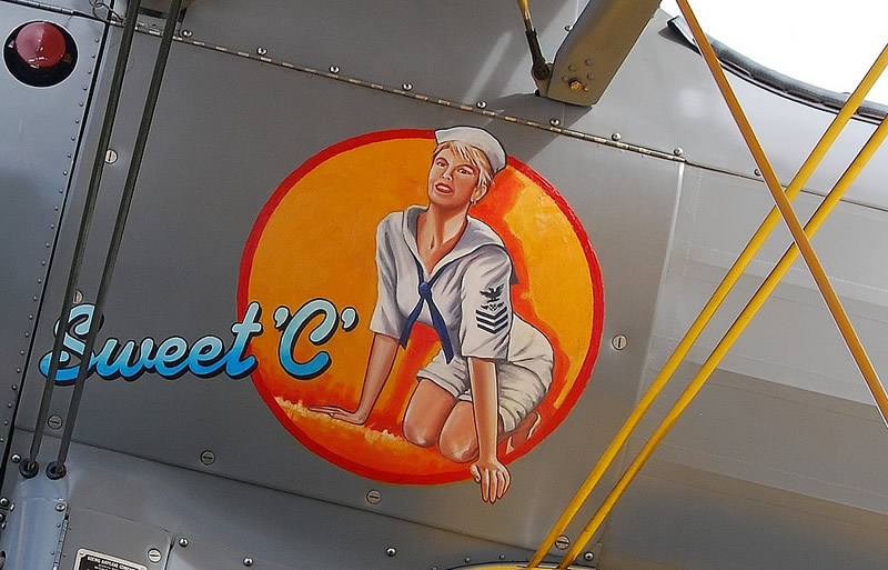 "Nose art on Boeing Stearman N68461... ""Sweet C"""