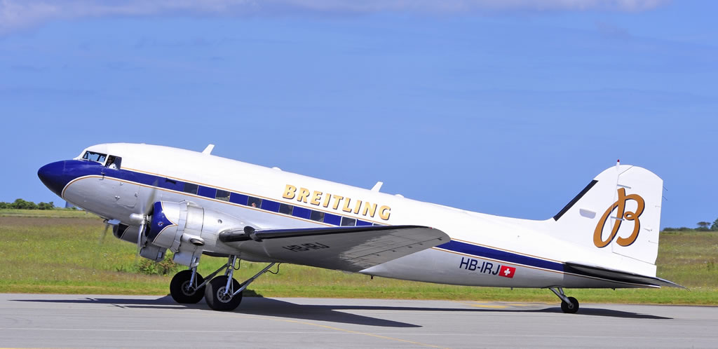 "DC-3-227B ""Breitling"", Registration HB-IRJ, in Cherbourg, France"
