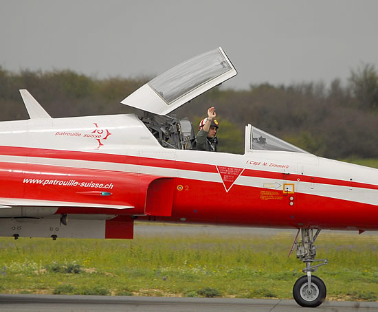 Patrouille Suisse F-5E Tiger II demonstration team on the taxi way