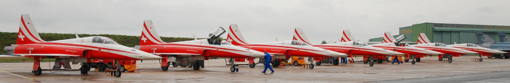 Patrouille Suisse F-5E Tiger II demonstration team on the tarmac