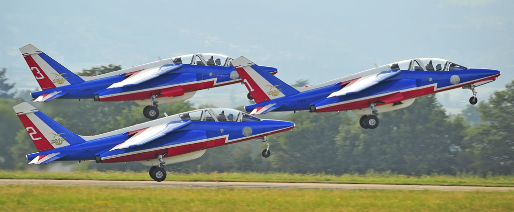 Takeoff of the Patrouille de France flight demonstration team