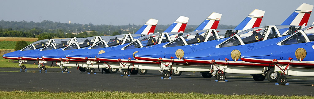 Patrouille de France flight demonstration team of the French Air Force during preparations for an air show