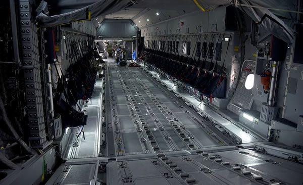 Cargo space inside an Airbus A400M Atlas