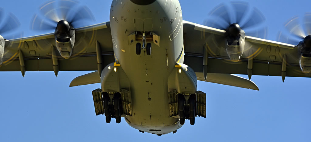View of the landing gear and under fuselage of an Airbus A400M Atlas