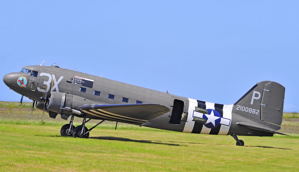 "C-47 Dakota, ""Drag 'em Oot"", Registration N473DC, seen here in Cherbourg, France, June 2014"