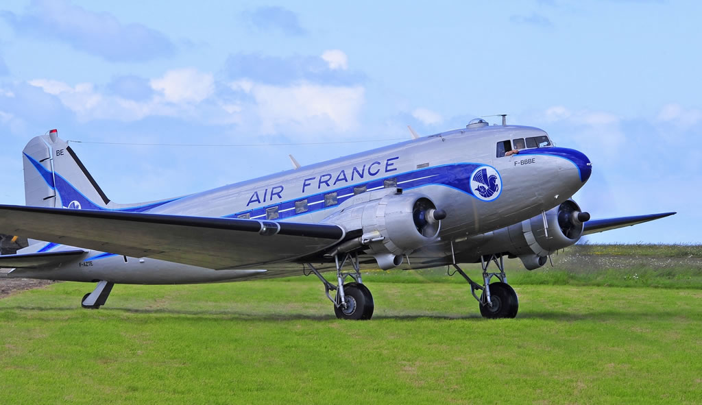C-47A Skytrain, Registration F-AZTE, painted in Air France colors, at Cherbourg, France