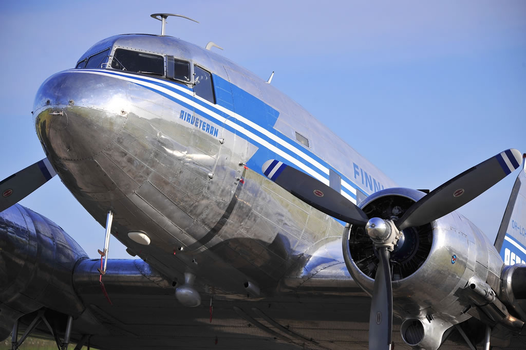 "DC-3A-453, ""Air Veteran"", Registration OH-LCH. Seen here in Cherbourg, France"