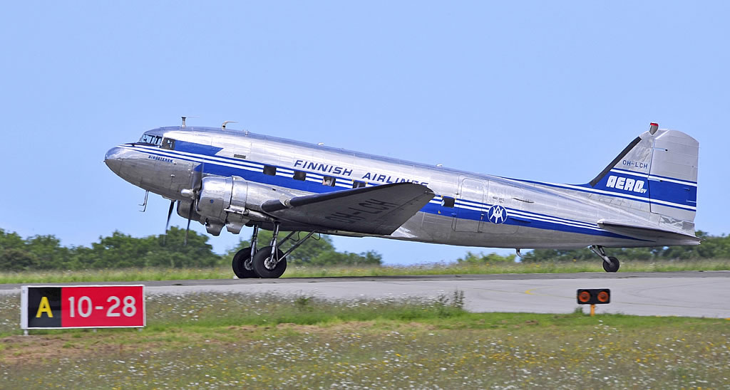 "Built as Douglas DC-3A-453, C/N 6346, ""Air Veteran"", Registration OH-LCH, is operated by the DC Association in Helsinki, Finland."