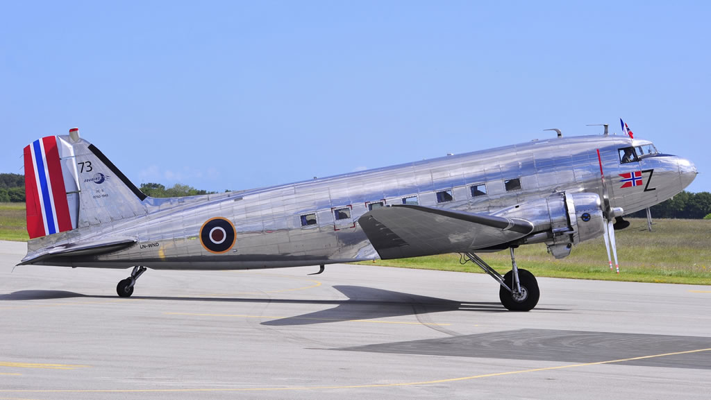 Douglas C-53D-DO Sky Trooper, S/N 11750, Registration LN-WND, at Cherbourg, France