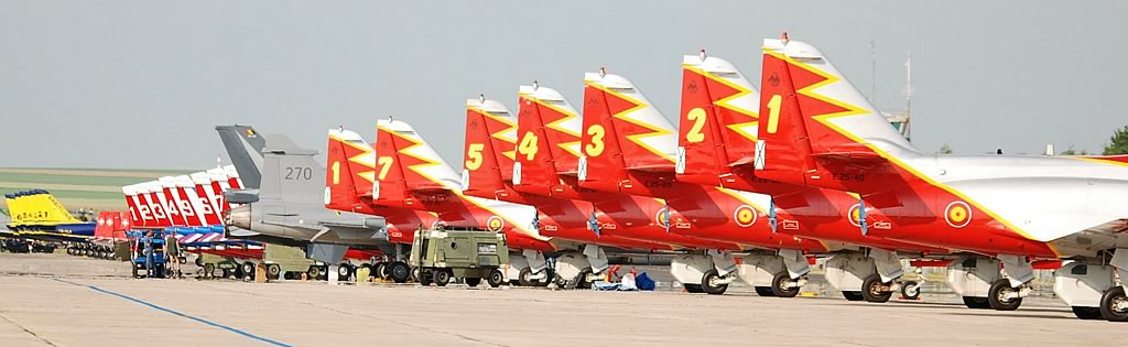 Aircraft of several European aerial demonstration teams parked on the tarmac