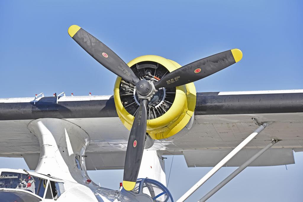 "Close-up view of engine on the PBY-5A Catalina N9767 ""La princesse des étoiles"""