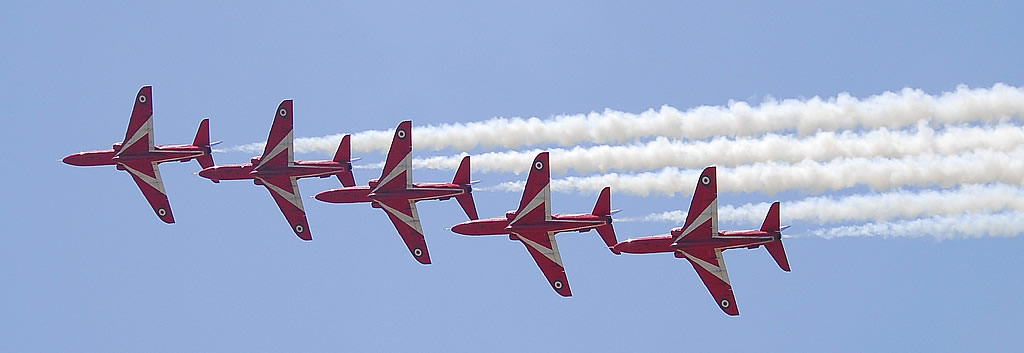 Royal Air Force Red Arrows performing at an air show at Rochefort, France