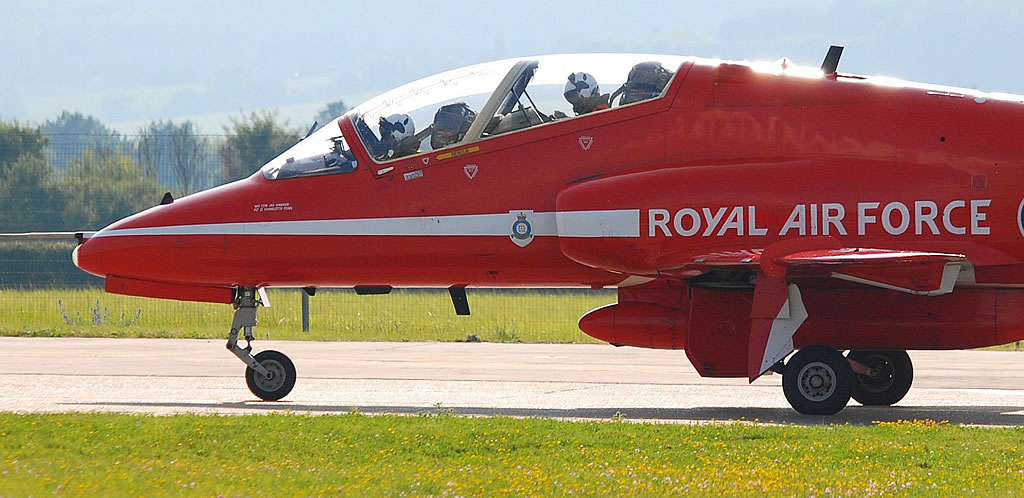 Royal Air Force Red Arrow preparing for takeoff at air show
