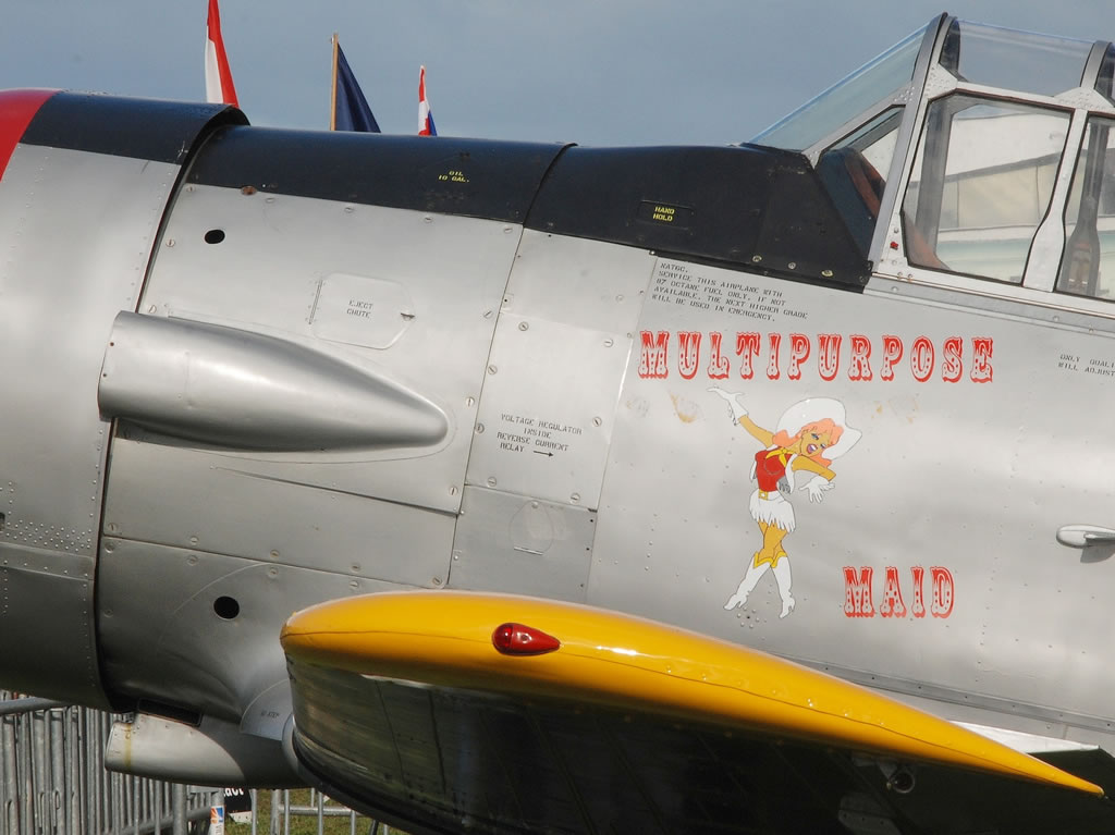 "Nose art on T-6 Texan ""Multipurpose Maid"", Registration F-AZQR"