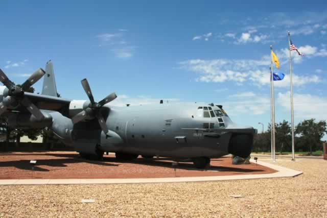 MC-130E Combat Talon I, S/N 64-0523, on display at Cannon Air Force Base, Clovis, New Mexico