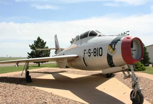 Republic Aviation F-84F Thunderstreak S/N 011810, Buzz Number FS-810, on display at Cannon AFB, Clovis, New Mexico