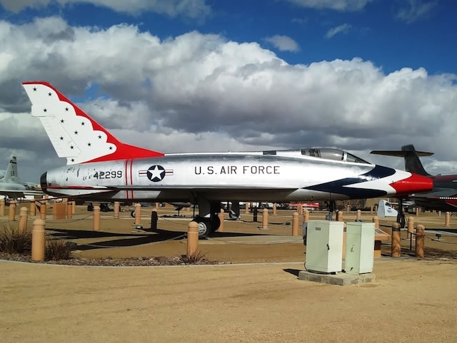 F-100D Super Sabre, S/N 42299, in the USAF Thundebird colors, Palmdale, California