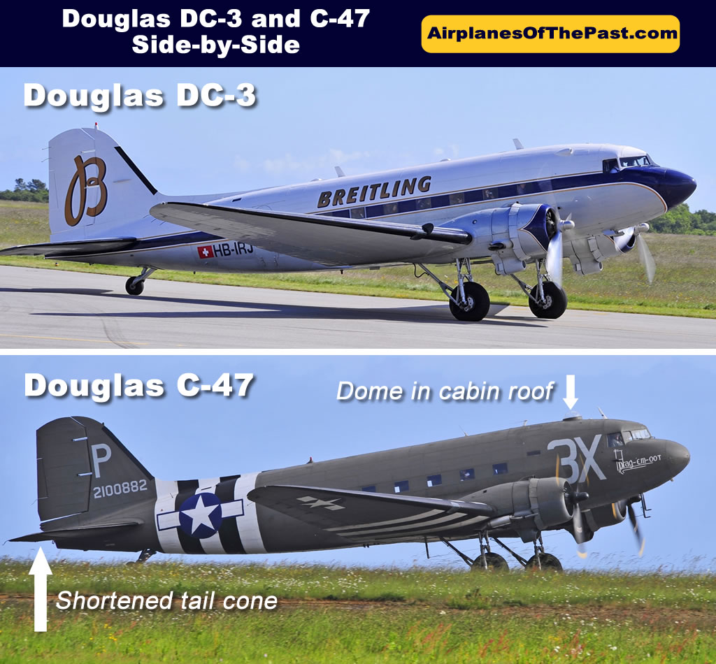 Douglas DC-3 and C-47 side-by-side comparison of differences
