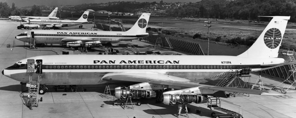 Boeing 707-121 jetliners prior to delivery to Pan American in 1958