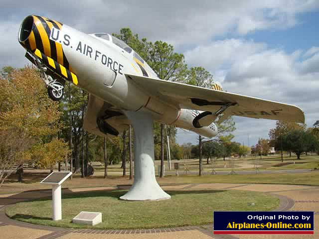 F-84F Thunderstreak S/N 52-7080 on static display in Alexandria, Louisiana at the closed England AFB