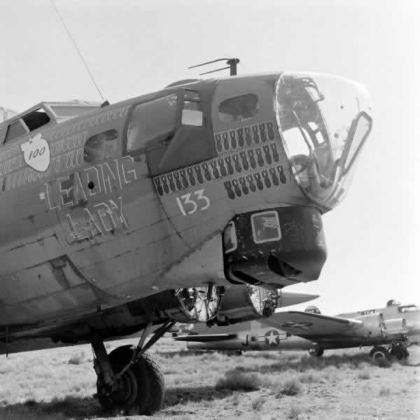 "B-17 Flying Fortress ""Leading Lady"", minus engines, at Kingman Army Airfield"