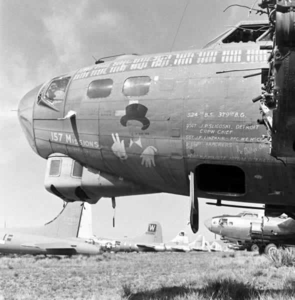 Rows of B-17 Flying Fortresses awaiting their final destiny at Kingman Army Airfield
