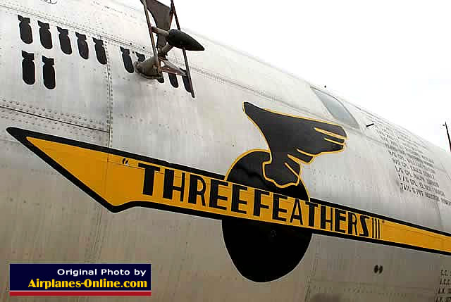 "Nose art on the B-29 Superfortress 44-61669 ... ""Three Feathers"" ... March Field Air Museum in California"