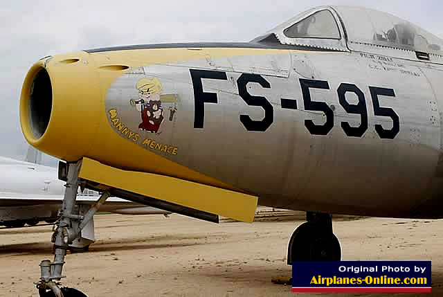 "F-84G Thunderjet, ""Manny's Menace"", Buzz Number FS-595, on display at the March Field Air Museum in California"