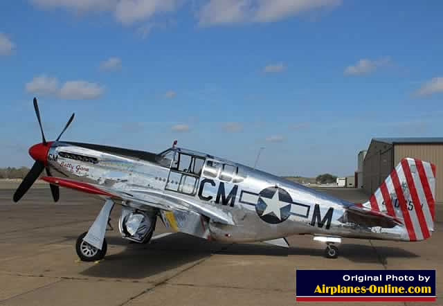 "P-51 Mustang ""Betty Jane"" of the Collings Foundation, seen at Tyler Pounds Regional Airport"